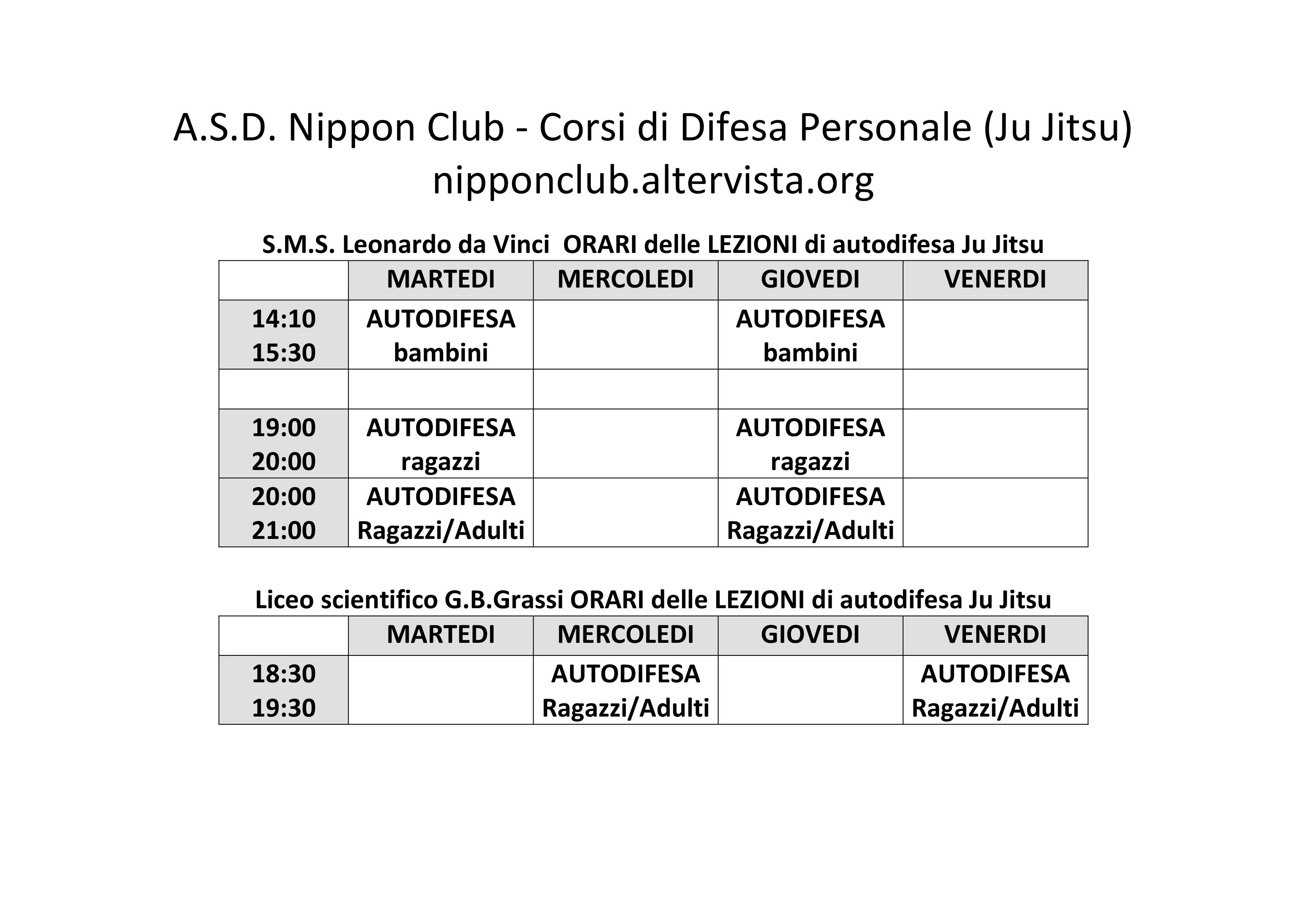 orari delle palestre dell'ASD Nippon Club ESCAPE='HTML'